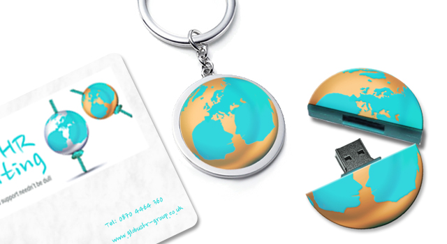 Key ring, USB and business card